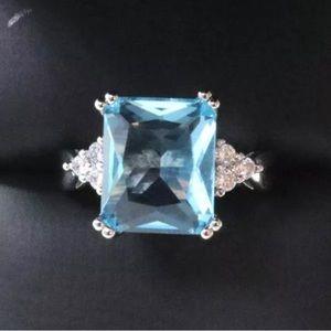EMERALD CUT BLUE TOPAZ & CZ 925 SILVER RING